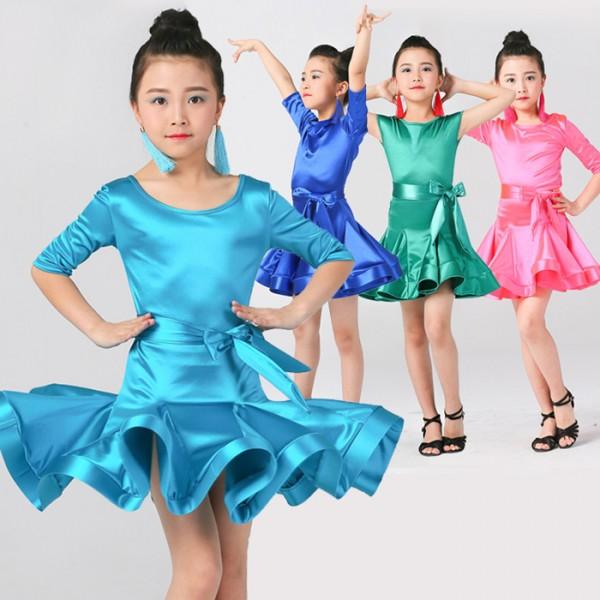 ba2f639df Girl short Sleeves satin Latin Dance Dress Children Ballroom Dance ...