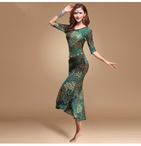 Girls belly dance clothes Green peacock dance dress for women belly dance dress lady fashion dress M/L dance clothing