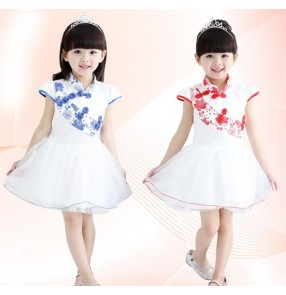 Girls child kids children baby blue and white red and white cheongsam short sleeves modern stage performance jazz dance dresses costumes