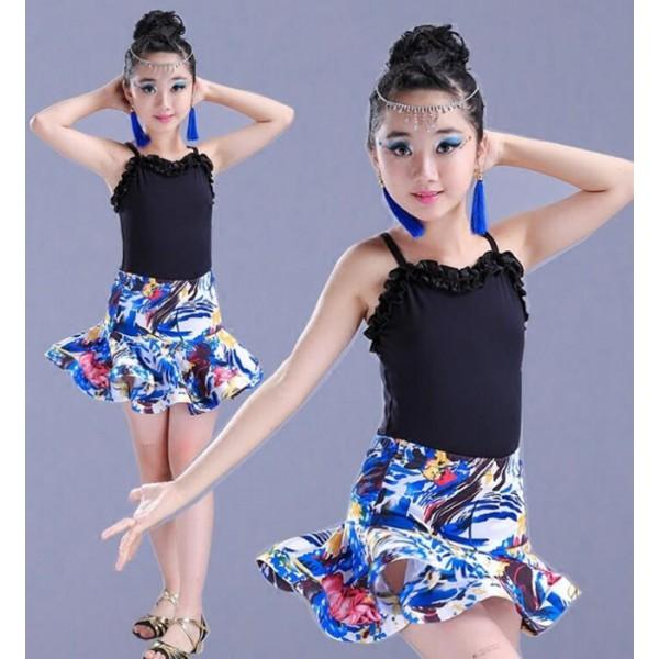 fc615d40c Girls floral printed sleeveless Latin Dance Dress Children Ballroom Dance  Dresses Kids Salsa Rumba Cha Cha Samba Tango Dress