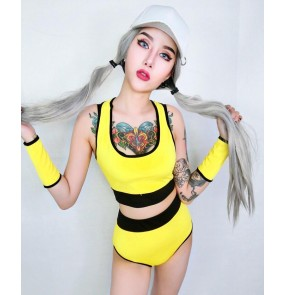 Girls Red yellow cheer leading perspective Dance Costume Lady Women Sexy Nightclub Singer Jazz Hip Hop Dance Costumes