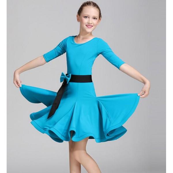 Girls short sleeves mint latin dance dress children - Danse de salon enfant ...