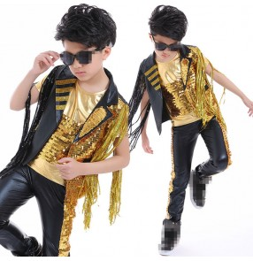 Gold black patchwork fringes tassel boyskids children  motorcycle modern competition performance jazz hip hop dance outfits costumes
