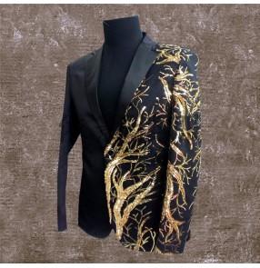 Gold Blazer For Men Stage Costumes Club Singer Dragon Sequins Black Red Gold Blazer Stage Black Red Gold Blazer Men