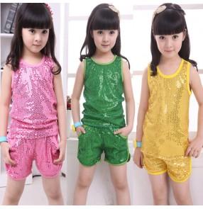 Gold green royal blue hot pink sequins paillette girls kids children school performance jazz singers hip hop dance outfits