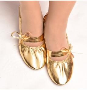 Gold gum soles women's practice belly dance ballet dancing soft soles shoes sandals