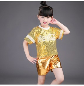 Gold hot pink fuchsia sequins girls boys paillette fashion modern dance jazz singers performance dance outfits