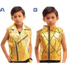 Gold laser shiny glitter boys kids children modern dance rivet jazz hip hop singers drummer dancers waistcoats jackets