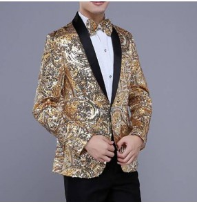 Gold pink embroidery sequins jacket male costume men's prom wedding dance outerwear singer party Christmas performance show fashion blazers