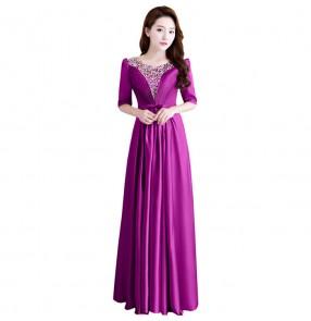 Gold purple royal blue mother of bridesmaid Formal Evening Dresse Elegant Deep V-neck Ruched Bust Maxi Woman Evening Dresses