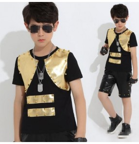 Gold rivet leather and black patchwork boys fashion kids children stage performance t show cos play school play jazz singer ds dj hip hop dance costumes outfits