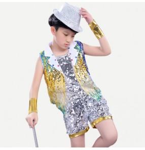 Gold royal blue gradient colored boys girls modern dance sequins jazz singers drummer dancers hip hop dancing outfits costumes