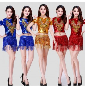 Gold royal blue red paillette  sequins fringes girls women's singers dancers ds dj modern dance cheer leaders dance costumes outfits