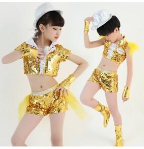 Gold royal blue sequins paillette modern dance girls boyds kids children jazz singers dancers drummer performance  outfits