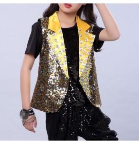 Gold sequins lapel collar sleeveless girls kids children jazz singers hip hop drummer competition vest waistcoats