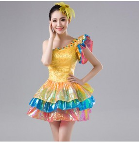 Gold sequins rainbow paillette women's ladies nigth club modern dance singers jazz hip hop pole dance cosplay party dancing stage performance dresses