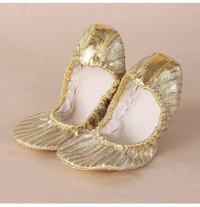 Gold sequins striped glitter paillette flat heel soft soles teachers practice competition women's girls belly dance shoes