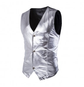 Gold silver black Horse riding jazz dance costume photography singers performance chorus men and women sequins vest