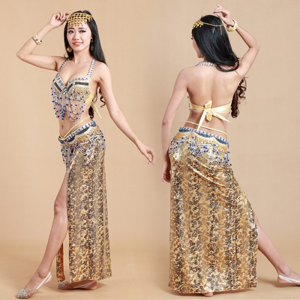 Gold Silver Red Hot Selling Belly Dancing Costumes Dance Set