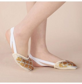 Gold silver sequins rhombic pattern half soles women's cheap practice belly ballet dance toe pad thong socks shoes