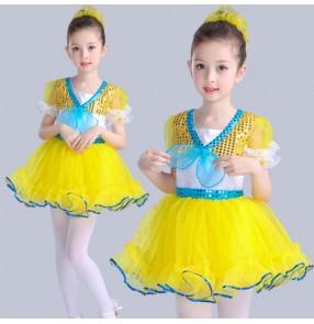 Gold turquoise green light pink fuchsia girls princess modern dance ballet girls kids children jazz singers dance dresses