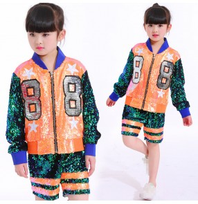 Green and neon orange sequins paillette patchwork girls boys kids children hip hop jazz baseball singers performance dance top and shorts outfits