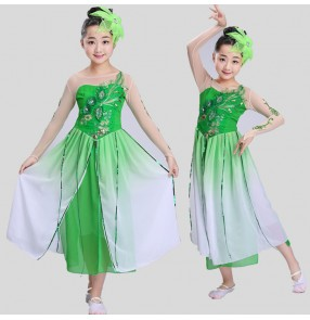 Green chinese fairy dress dance costumes for kids traditional chinese ancient costume classical children kid girls