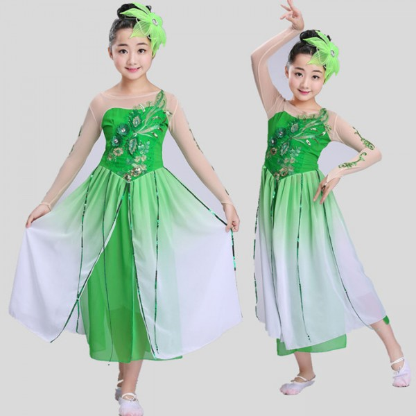 b8a5e5a8120c Green chinese fairy dress dance costumes for kids traditional chinese ...