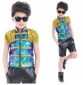Green gold  laser glitter paillette rivet boys kids children jazz singers performance t show ds hip hop top and shorts outfits