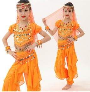 Green orange kids belly dance 6 pcs(top+pant+belt+head chain+hand chain+veil) indian clothes rose/red/yellow girls belly dance costume