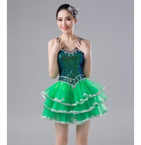 Green paillette sequins modern dance singers performance ds night club cosplay women's ladies jazz dancing outfits dresses