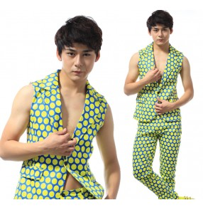 Green with yellow polka dot  fashion European American style men's male performance jazz singers hip hop night club dance vest pants outfits