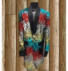 High Quality blue Fashion Colorful Sequins Long Jacket Blazer Nightclub Bar Stage Show Male Singer Dancer Performance Costumes Coat