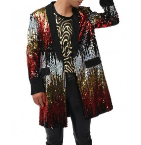 High Quality Fashion red black Sequins Long Jacket Blazer Nightclub Concert Bar Stage Show Male Singer Dancer Performance Costumes Coat
