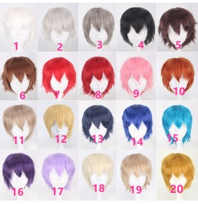 High Quality short straight Wine red style paragraph cosplay party performance wigs anime hair Heat resistance fiber