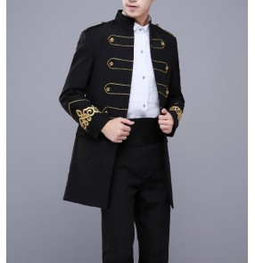 Hombres Black gold Blazer Concert Jacket Men Performance Costume Stage Wear Jacket Campera Hombre blazers