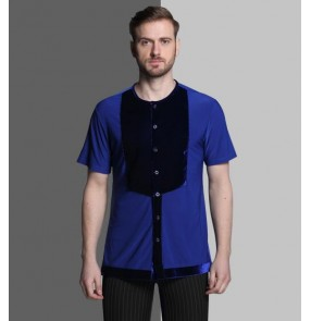 Hot Sale royal blue black velvet Plus Size Black Waltz Latin Dance Top Men Latin Dance Shirts Men Ballroom Dance Shirt