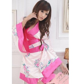 Japanese pink floral  Kimono role cosplay dress sexy costumes Sexy Lingerie underwear Sleep Wear Night club bar dress