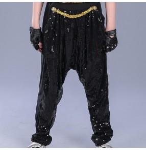 Kid Modern Black sequins paillette boys Jazz Hip Hop Dance Competition performance Costumes for Boys Clothing Clothes harem Pants