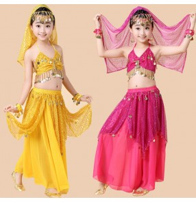 kids belly dance 5 pcs(top+skirt+head chain+veil+hand cuffs) indian clothes rose/red/yellow girls children belly dance costume
