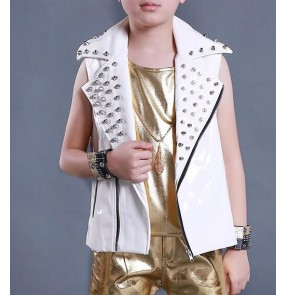 Kids Performance Costume white Vest for Boys Rivet leather  Boys drummer competition Wedding Waistcoat Kids Party Dancing Waistcoat