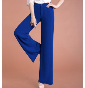 Korean Loose Wide Leg Pants Women Waist Casual Pants Large Swing Culottes Elastic Waist flare legs dance Trousers