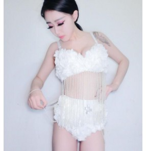 lace perspective Dance Costume Lady white lace Women Sexy Nightclub Singer Jazz Hip Hop Dance Costumes  Outfits