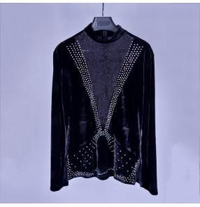 Lace velvet patchwork v neck long sleeves rhinestones competition performance men's latin salsa dance top shirts