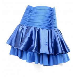 Lady Latin Dance Skirt For Womens Royal blue ruffles Latin Dance Dress Competition/Practice Dancewear skirts