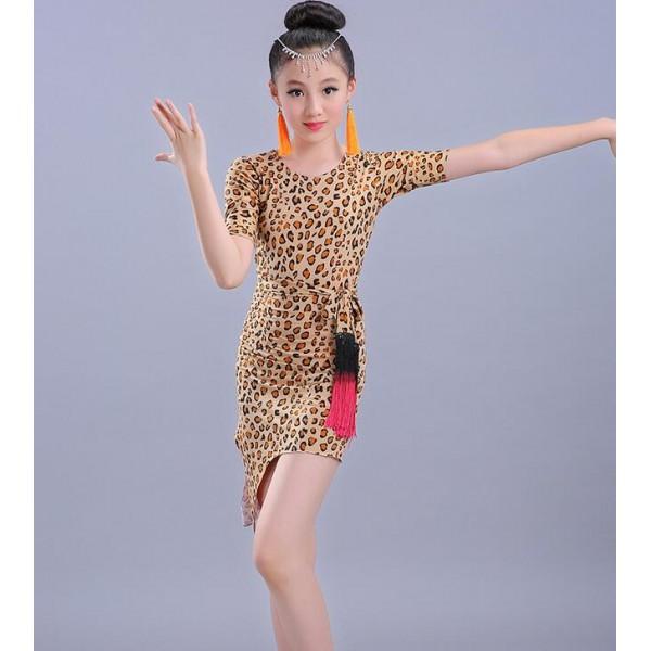 77f5336f5da8 Leopard printed girls kids children performance gymnastics latin salsa  rumba dance dresses with sashes