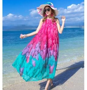 Light blue pink  flowers  girls women's ladies fashion  beach sun maxi dress vestidos