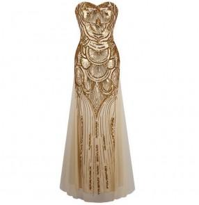 Light gold  sequins pattern women's ladies sexy evening wedding party off shoulder bridesmaid mermaid long vestidos dresses