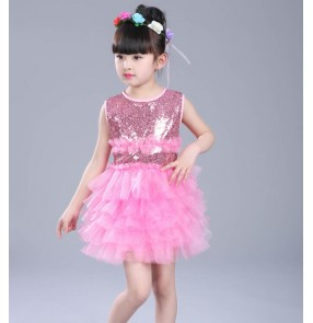 Light pink royal blue sequins paillete girls princess modern ballet tutu jazz singers performance dance dresses