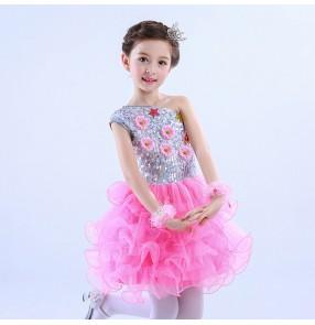 Light pink turquoise daisy modern dance girls kids children performance jazz singers ballet tutu skirt dance dresses